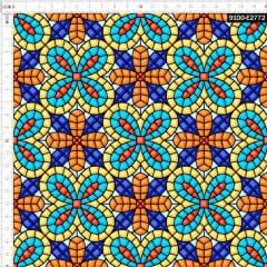 Tecido Tricoline Digital Azulejo Mosaico Floral 9100e2772