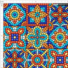Tecido Tricoline Digital Azulejo Mosaico Vitral 9100e2773