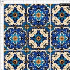 Tecido Tricoline Digital Azulejo Português Floral 9100e2775