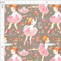 Tecido Tricoline Digital Bailarinas Vestido Rosa 9100e2582