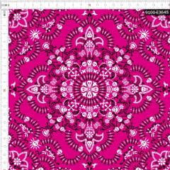 Tecido Tricoline Digital Bandana Caveiras Rosa e Preta 9100e3645