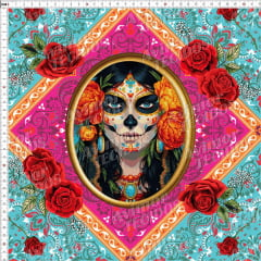 Tecido Tricoline Digital Boneca Mexicana Moldura Rosa 9100e3664