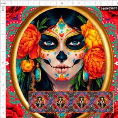 Tecido Tricoline Digital Boneca Mexicana Moldura Vermelha 9100e3665
