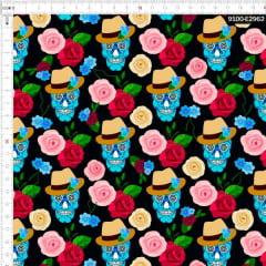 Tecido Tricoline Digital Caveira Floral 9100e2962