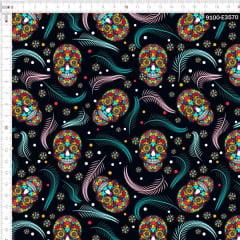 Tecido Tricoline Digital Caveira Mexicana e Plumas 9100e3570