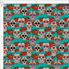 Tecido Tricoline Digital Caveiras Floral Fundo Tifanny 9100e3572