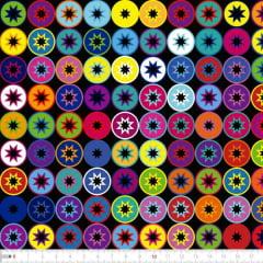Tecido Tricoline Digital Círculos Geométrico Coloridos 9100e2262