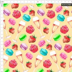 Tecido Tricoline Digital Cupcake Chique 9100e2583