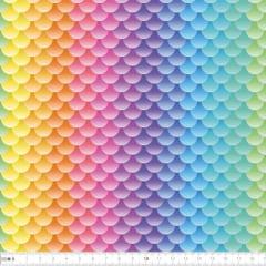Tecido Tricoline Digital Escamas Arco-íris 9100e2320