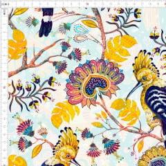 Tecido Tricoline Digital Pássaro e Floral 9100e2472