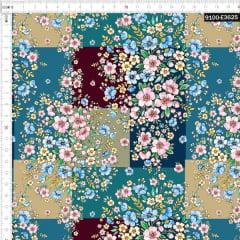 Tecido Tricoline Digital Buquês De Flores Silvestres Bege 9100e3625