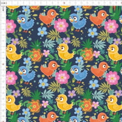 Tecido Tricoline Digital Floral Passarinhos Azuis e Amarelos 9100e2471