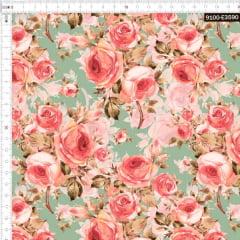 Tecido Tricoline Digital Floral Rosa Seco Verde Vintage 9100e3590