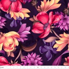 Tecido Tricoline Digital Floral Vintage 9100e2265