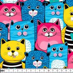 Tecido Tricoline Digital Gatinhos Coloridos 9030e013