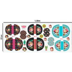 Tecido Tricoline Digital Kit Necessaire Pepita Flores - 3 Tamanhos 9100e3690