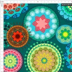 Tecido Tricoline Digital Mandalas Coloridas 9100e2579