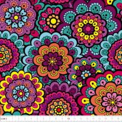 Tecido Tricoline Digital Mandalas Pink Verde Amarela e Lilas 9100e2318