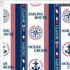 Tecido Tricoline Digital Navegando Oceano Náutico  9100e3586