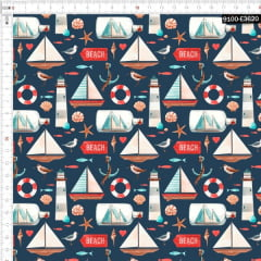 Tecido Tricoline Digital Pesca em Alto Mar 9100e3620