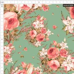 Tecido Tricoline Digital Ramo de Rosas Fundo Verde 9100e3591