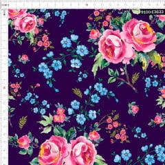 Tecido Tricoline Digital Floral Vintage  9100e3633