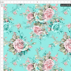 Tecido Tricoline Digital Rosas Fundo Tifanny 9100e3608