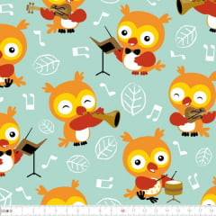 Tecido Tricoline Digital Sinfonia das Corujas 9100e2330