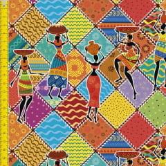 Tecido Tricoline Estampado Digital Africanas  9100E1324