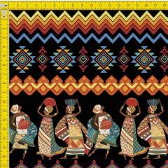 Tecido Tricoline Estampado Digital Africanas com Barrado 9100e731