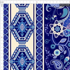 Tecido Tricoline Estampado Digital Arabesco Azulejo 9100e3099