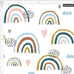 Tecido Tricoline Estampado Digital Arco-íris Desenhado 9100e4289