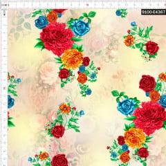 Tecido Tricoline Estampado Digital Arranjo de Flores 9100e4367