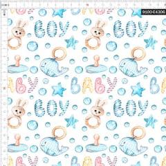 Tecido Tricoline Estampado Digital Baby Boy Baleia e Coelho 9100e4306