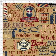 Tecido Tricoline Estampado Digital Barbearia Hipster 9100e3487