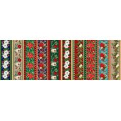 Tecido Tricoline Estampado Digital Barrados Natalinos Floral 9100E4678