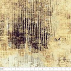 Tecido Tricoline Estampado Digital Batik Bege e Preto 9100e2232