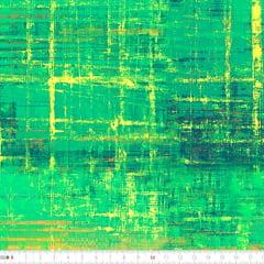 Tecido Tricoline Estampado Digital Batik Verde Amarelo 9100e2236