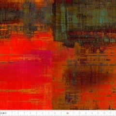 Tecido Tricoline Estampado Digital Batik Vermelho Verde  Marrom 9100e2230