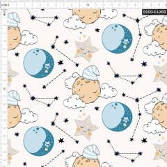 Tecido Tricoline Estampado Digital Boa Noite nas Estrelas 9100e4269
