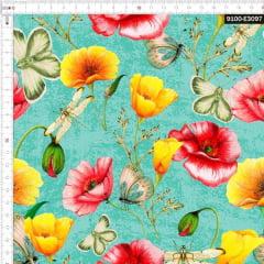 Tecido Tricoline Estampado Digital Borboletas e Insetos em Flores 9100e3097