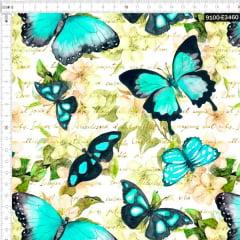 Tecido Tricoline Estampado Digital Borboletas e Poemas 9100e3460