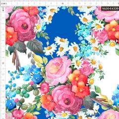 Tecido Tricoline Estampado Digital Buquê em Aquarela de Flores 9100e4339