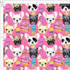Tecido Tricoline Estampado Digital Cachorro E Biscoito Rosa 9100e3947