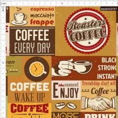 Tecido Tricoline Estampado Digital Café Todo Dia 9100e3727