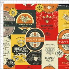 Tecido Tricoline Estampado Digital Cervejaria 9100e3734