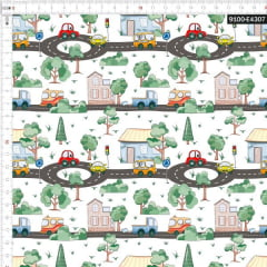 Tecido Tricoline Estampado Digital Cidade Feliz 9100e4307