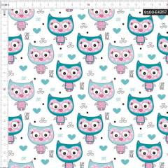 Tecido Tricoline Estampado Digital Corujinha 9100e4257