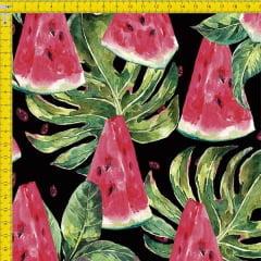 Tecido Tricoline Estampado Digital Costela de Adão e Melancia 9100e821