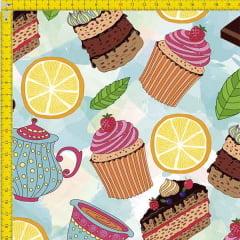 Tecido Tricoline Estampado Digital Cupcake e bolos 9100e822